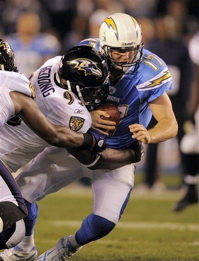 NFL: Chargers 34, Ravens 14;