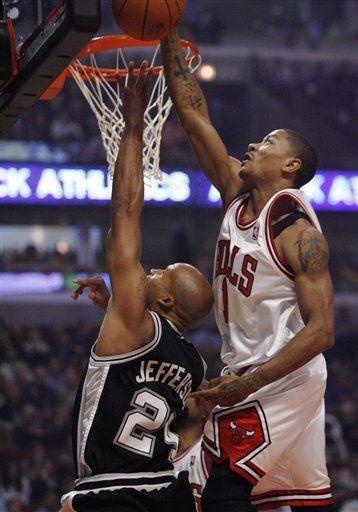 NBA: Bulls 92, Spurs 85; Rose luce atinado