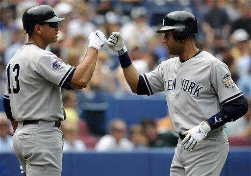 MLB: Yanquis 9, Azulejos 4; Jeter y Rodríguez batean jonrones