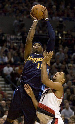 NBA: Nuggets 97, Portland 94; Anthony suma 41 puntos
