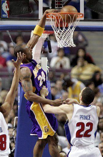 NBA: Lakers 92, Pistons 77; Bryant anota 30 puntos